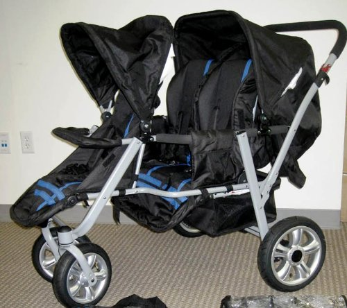 Amazon.com : Blue and Black Triple Trio Tandem Baby Jogger ...