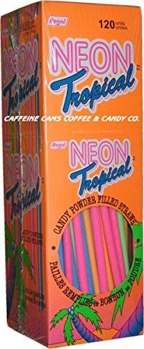 Neon Tropical Candy Powder Filled Straws