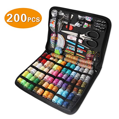 Sewing Kit, CESHUMD 200 Premium Sewing Supplies Organizer Filled with Scissors, Thimble, Sewing Needles and Thread for Adults and Kids, Beginner, Emergency, DIY Sewing Accessories, Giftable (Large)