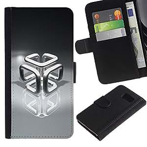 Planetar® Modelo colorido cuero carpeta tirón caso cubierta piel Holster Funda protección Para Samsung Galaxy S6 / SM-G920 ( Chrome Cube )