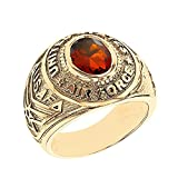 Solid 10k Yellow Gold July CZ Birthstone US Air Force Men's Ring (Size 9)