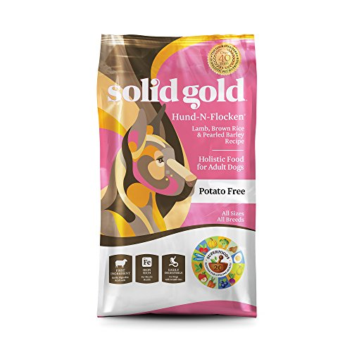 Solid Gold Hund-N-Flocken Holistic Dry Dog Food, Lamb, Brown Rice & Pearled Barley, Moderately Active Adult Dogs, All Sizes, 28lb Bag