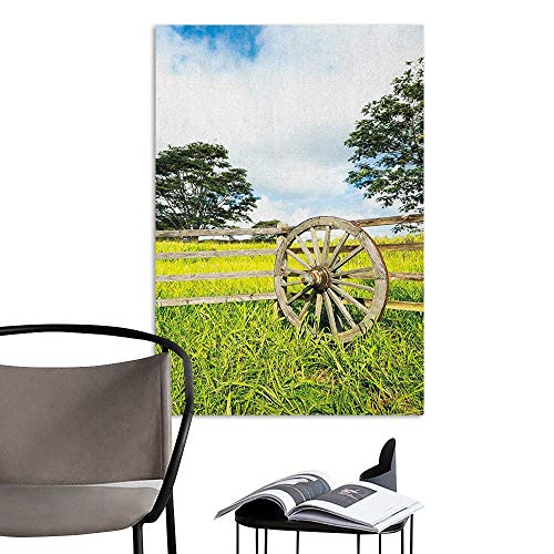Wall Mural Wallpaper Stickers Barn Wood Wagon Wheel Fresh Green Meadow Ranching Fences Lush Growth Rural Landscape Trees Multicolor for Kids Rooms Boy Room W8 x H10 ()