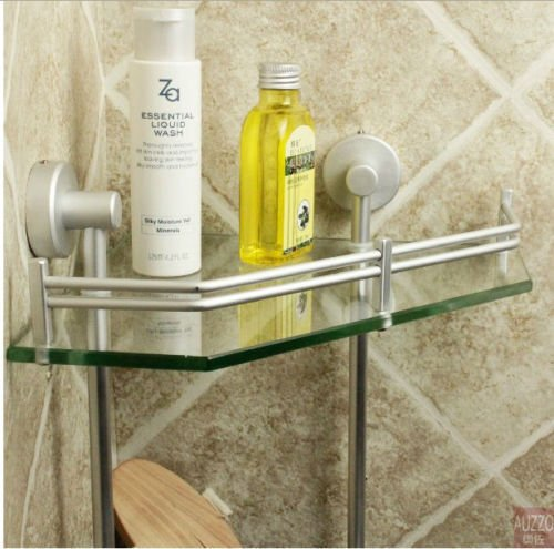 New Luxury Bathroom 2-Tier Glass Shelf Glass Shower Shelving Corner Aluminium by Bathroom Shelves (Image #2)