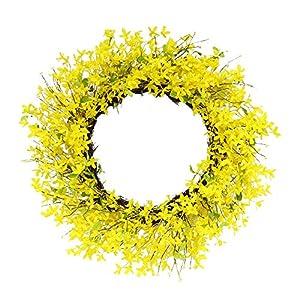 Puleo International 30 in. Artificial Yellow Jasmine Wreath, Green 13