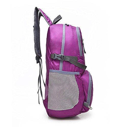Mountaineering Bag Outdoor Männer und Frauen Schulter Rucksack nylon Wanderpackage floding Bergsteigen Taschen , Violett