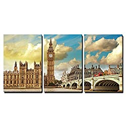wall26 - 3 Piece Canvas Wall Art - London. Beautiful View of Westminster Bridge and Houses of Parliament with Thames River - Modern Home Decor Stretched and Framed Ready to Hang - 16x24x3 Panels