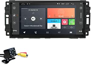 7 Inch Android 10 hizpo Car Navigation for Jeep Chevrolet Chrysler Compass Radio 2G+16G Unit Supports Bluetooth WiFi 4G Steering Wheel Control Mirror-Link OBD2 TPMS with Free Rear View Camera