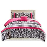 Twin/Twin XL Size Comforter Set - 3 Pieces All Season Bed in A Bag Set - Pink and Black Bedding Sets - Polka Dot, Zebra, Damask Print Bed Set Includs 1 Comforter, 1 Sham, 1 Décor Pillow - Sally