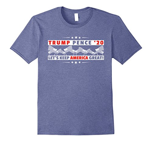 Mens Trump Pence 2020 America Great Election T-Shirt Large Heather Blue