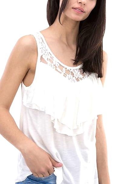 Tiffosi Camiseta Tirantes Crudo Mujer Nia con Volantes Y Encaje (S)