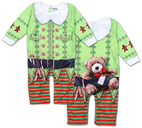 Infant Long Sleeve: Christmas Elf Romper with Legs Infant Onesie Size 18 Mos (Elf Suit For Baby)