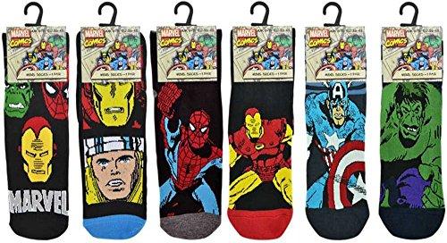 Marvel Comics Socks Mens Mix Hulk, Spider-man 7-12 Large With One Bonus Koozie (6 Pair) (Marvel Socks)