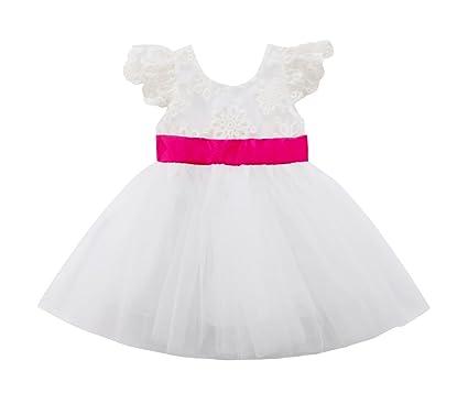 35007b24ed1de WangsCanis 1-5Ans Bébé Fille Robe Princesse en Tulle sans Manche Robe Blanc  avec Noeud