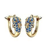 Cute Small Dolphins Lucky Charms Gold-Tone Positive Energy Amulets Royal Blue Sparkling Crystals Earrings