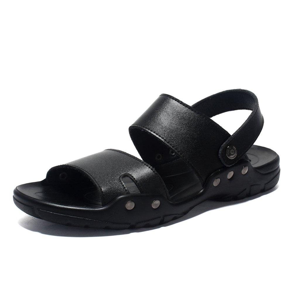 Toptak Zapatos de Hombre Cuero Confort Sandalias Zapatillas de Al Aire Libre Zapatos de Playa,Black,US7.0-EU40 US7.0-EU40|Black