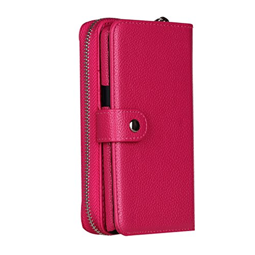 DRUnKQUEEn iPhone 7plus Case,Zipper Wallet Type Flip Folio Case Premium Leather Credit Card Holder Feature - Detachable Magnetic Back Cover with Lanyard Wrist Hand Strap for iPhone 7Plus(5.5'')-Rose