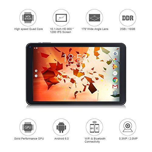 10.1 Inch Tablet PC Google Wifi Android 6.0 OS Quad Core 800 x1280 IPS Display 2G DDR 16GB Storage Bluetooth 4.0 Dual Camera Micro HDMI Type