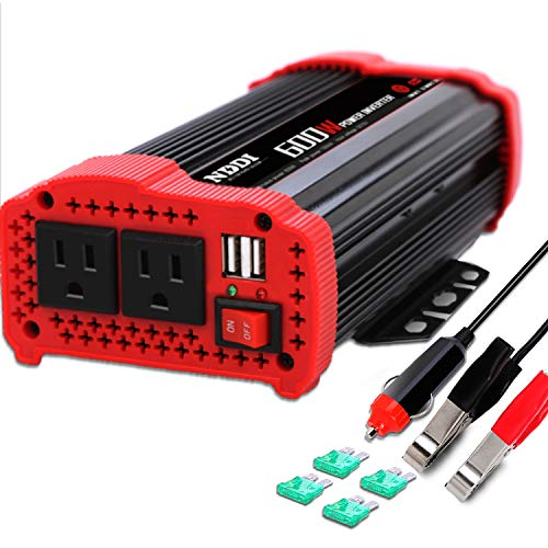 600W Car Power Inverter 12V DC to 110V AC Converter with 3.1 A Dual USB Quick Car Charger Adapter