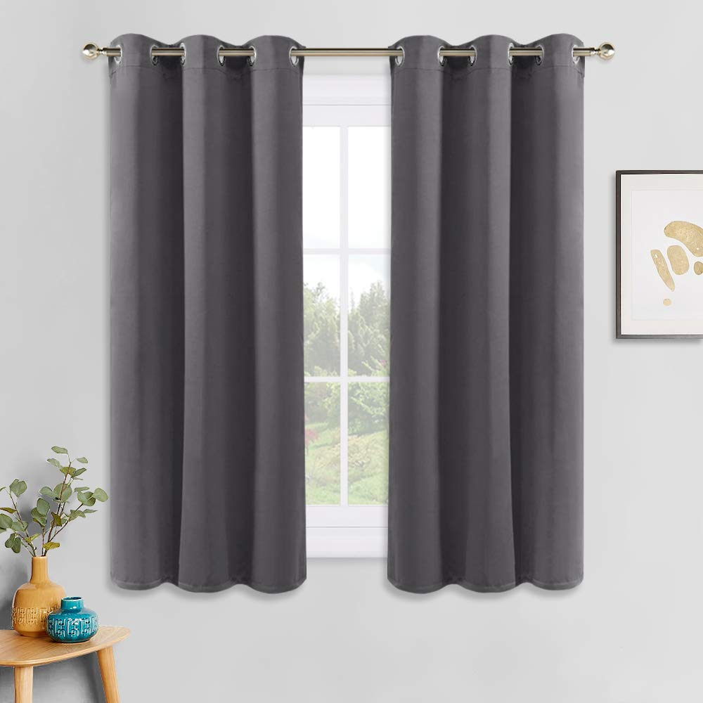 PONY DANCE Grey Blackout Curtains - Thermal Insulated Grommet Curtain Panels Room Darkening for Kitchen/Bedroom Window Treatments Home Decoration, 42 inches Wide by 45 inches Long, 1 Pair