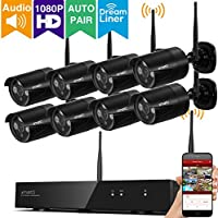 [Audio & Video] xmartO 8CH Full HD 1080p Wireless Security Camera System with 8x 1080p HD 2.0 Megapixel Outdoor Wireless IP Cameras (Dream Liner WiFi Relay, Built-in Router, Auto-Pair, No HDD)