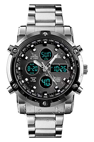 BHGWR Mens Analogue Digital Watch – Men Military Sport Watch with Alarm/Dual Time/Countdown/Stopwatch, Big Face Daily…