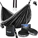 Bigfoot Outdoor Double Tree Hammock Suspension System - w/XL Straps - 34 Loops Total - Over 10.6 feet Long - 6.6 feet Wide - 4 Steel Carabiners + Strap Carrying Pouch (Silver)