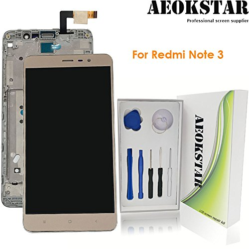 Aeokstar For Xiaomi Redmi Note 3 LCD Touch Screen Digitizer Glass Assembly Replacement + Frame & Full Repair Tools Kit (GOLDEN+FRAME)