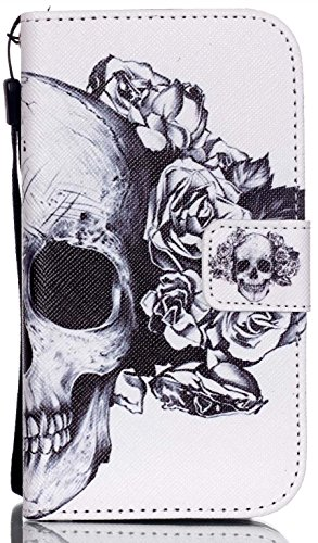 Skull Cover - Aiyze G360 Wallet Case Color Printed PU Leather Credit Card Holder Flip Cover with Free Stylus Gift for Samsung Galaxy Core Prime G360 G3606 G3608 G3609 Prevail LTE ( Skull Flower )