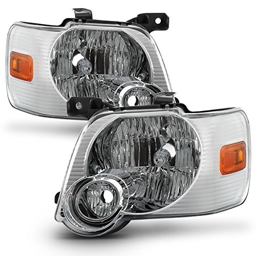 For 06-10 Ford Explorer/Sport Trac Chrome Clear Headlights Front Lamps Direct Replacement Left + ()