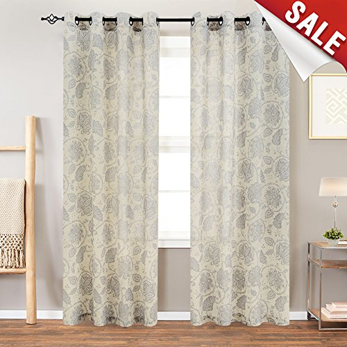 Paisley Scroll Printed Linen Curtains, Grommet Top - Medallion Design Burlap Vintage Living Room Curtain Panels (Grey, 84 inch Long, One Pair)