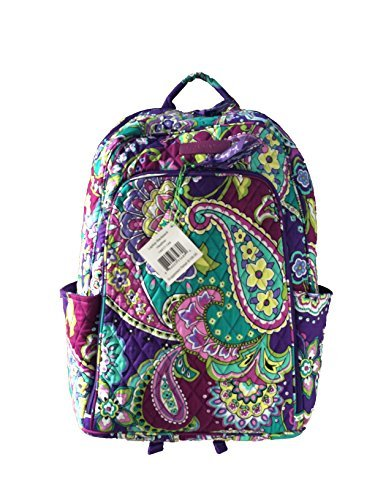 Vera Bradley Laptop Backpack (Updated Version) with Solid Color Interiors (Heather with Purple Interiors)