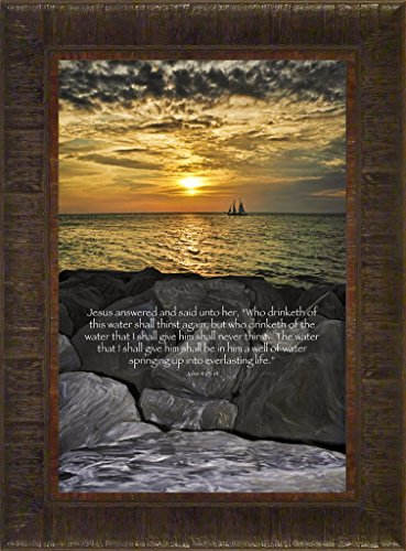 Rocky Reflection By Todd Thunstedt 23.5x17.5 Sunset Ship Key West Cloudy Rock Ledge Pirate Galleon Religious Bible Verse Quote Saying Jesus Testament Old New Framed Art Print Wall Décor Picture