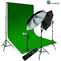 LimoStudio Photography Studio Chromakey Green Screen Background Kit - 1000 Watt Photo Video Light Lighting Kit - Photo Umbrella Black / Silver Reflector Light, AGG116V3