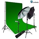 LimoStudio Photography Studio Chromakey Green Screen Background Kit - 1000 Watt Photo Video Light Lighting Kit - Photo Umbrella Black / Silver Reflector Light, AGG116V3