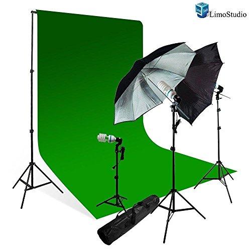 LimoStudio Photography Studio Chromakey Green Screen Background Kit - 1000 Watt Photo Video Light Lighting Kit - Photo Umbrella Black / Silver Reflector Light, AGG116V3 Studio 3 Portraits