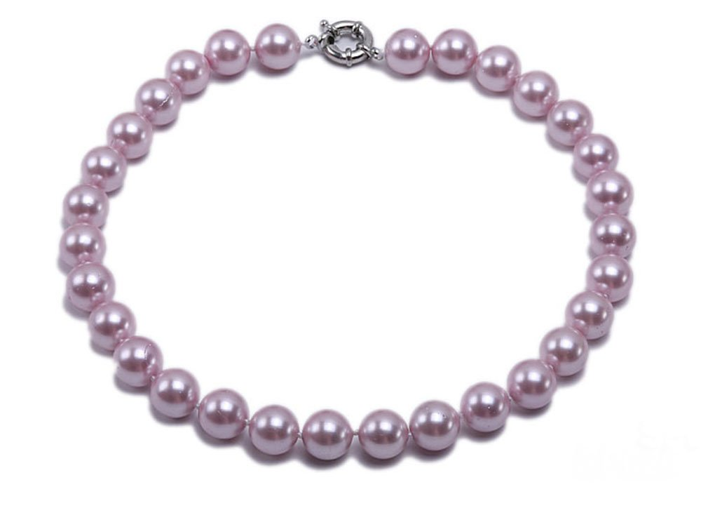 JYX 12mm Round lavender Seashell Pearl Necklace 18''(Lavender)
