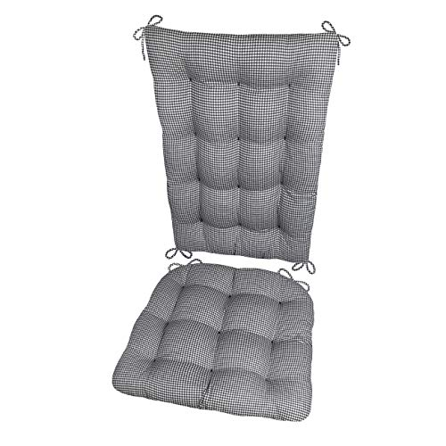 Barnett Products Rocking Chair Cushions - Madrid Gingham Check Black & White - Size Extra-Large - Latex Foam Filled Seat Pad and Back Rest, Reversible