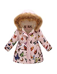 Tenworld B Girl's Winter Quilted Coat Butterfly Hooded Outerwear Puffer Jacket 7Y