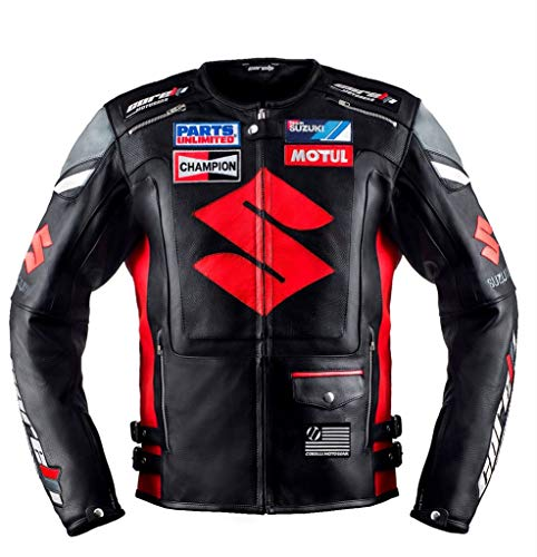 Suzuki Black Motorcycle Racing Leather Jacket (M(EU50))
