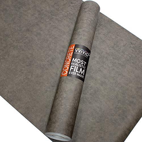 VViViD Dark Grey Concrete Natural Texture Architectural Vinyl Sheet Film Roll (16 Inch x 6.5ft Roll) (Concrete Vinyl)