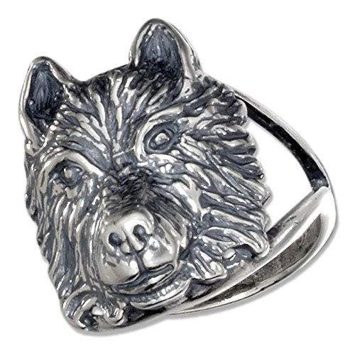 Sterling Silver Wolf Head Ring with Split Shank (size 05) (Silver Sterling Wolf Head)