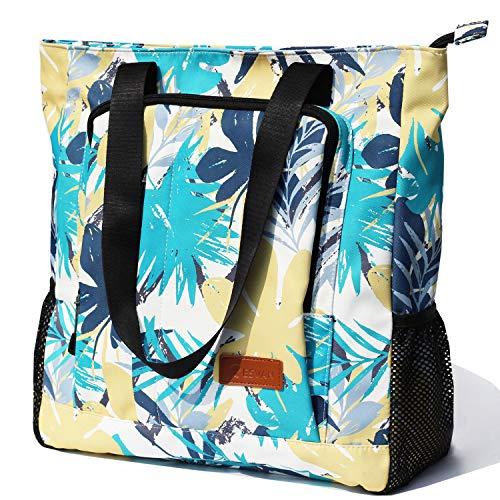 - Large Travel Tote Water Resistant Shoulder Bag Lightweight Gym Tote for Men Women Unisex Day Bag (Vibrant Leaf)