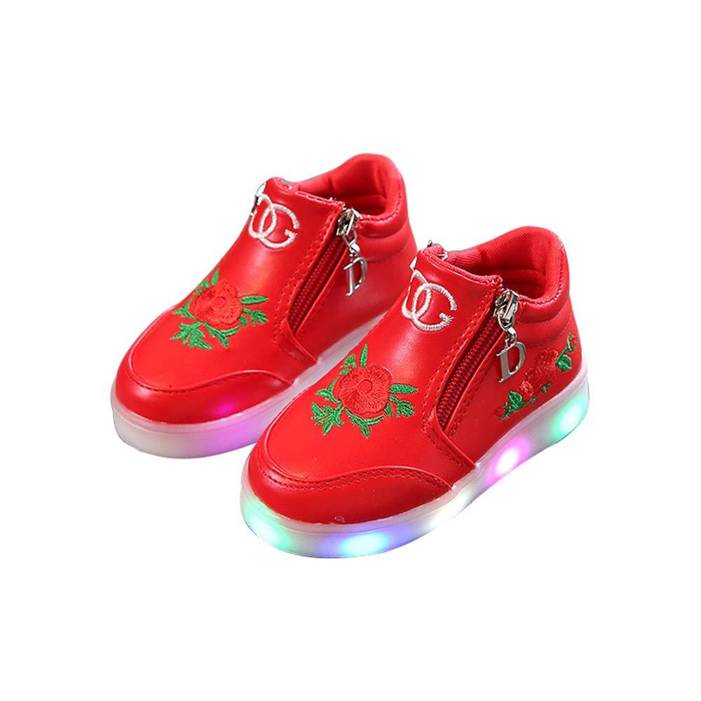 edv0d2v266 Children Kid Girls Boys Led Light Star Luminous Sport Mesh Student Casaul Shoes(Red 35/3MUSLittleKid)