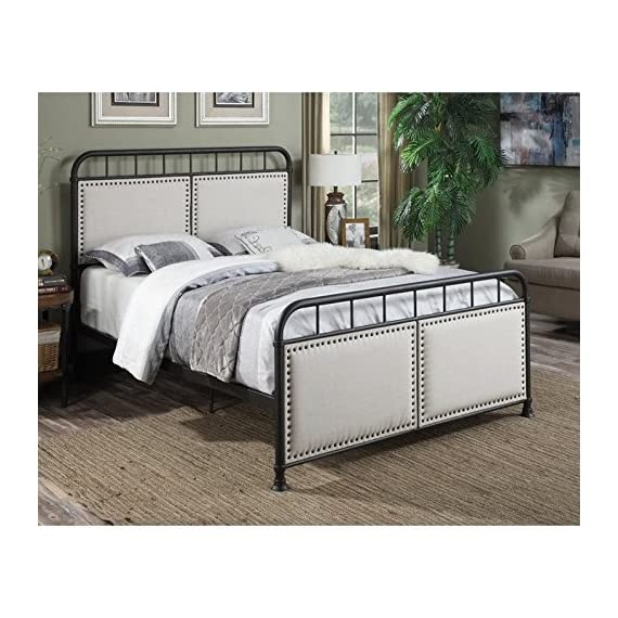 """Pulaski DS-2642-290 Queen Upholstered Panel All-in-One Metal Bed in White, 64.56"""" W x 86.22"""" L x 53.54"""" H - Classic shaped headboard and footboard features unique mix of materials for a modern Take on a Classic silhouette Two upholstered panels frames in Antique brass nail head trim contrast the metal frame Stylish, linen-like fabric in a neutral beige is durable and easy to clean - bedroom-furniture, bedroom, bed-frames - 51tFSr4oXjL. SS570  -"""