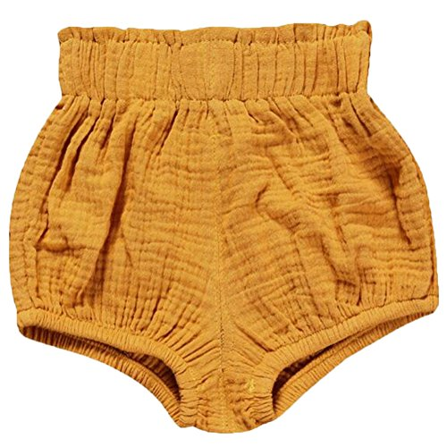 LOOLY Unisex Baby Girls Boys Cotton Linen Blend Bloomer Shorts Yellow 100