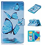 Uming® Print Pattern Colorful Holster Cover Case ( Three Blue Butterfly - for Samsung Galaxy S5 I9600 S5Neo ) Artificial-leather Flip with Bracket Stander Holder Credit Card Slot Wallet Hasp Magnet Button Shell Protective Mobile Cellphone Cover Bag