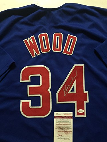 Autographed/Signed Kerry Wood Chicago Cubs Blue Baseball Jersey JSA COA Chicago Cubs Kerry Wood