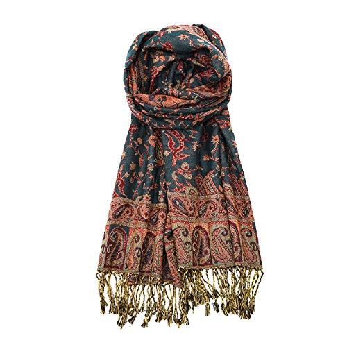 Reversible Paisley Pashmina Shawl Ethnic Style Fringed Scarf Shawl ()