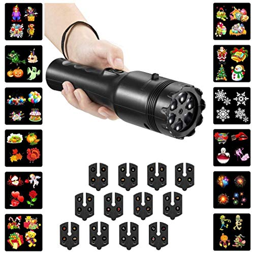 Holiday LED Projector Lights, 2 in 1 Party Decoration Flashlight & Handheld Torch 12pcs Switchable Film Slides Yard Garden Light Show Projector for Christmas, Birthday, Halloween,Easter, Thanksgiving